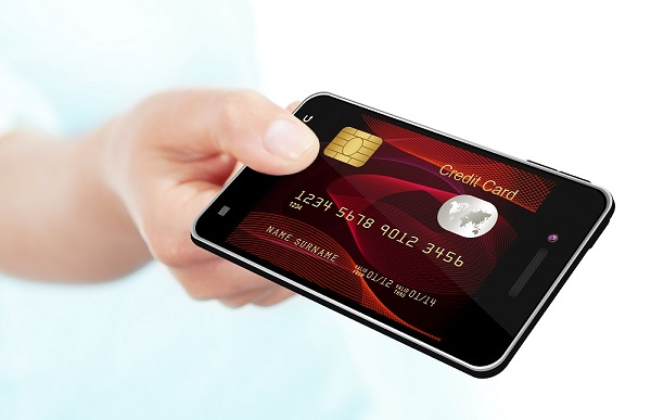 mobile banking (mobile phone, smartphone, hand, credit card)